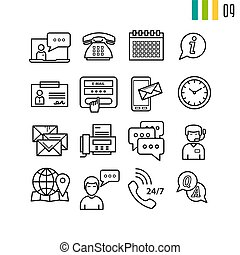 Outline online support icons - Vector outline online support...