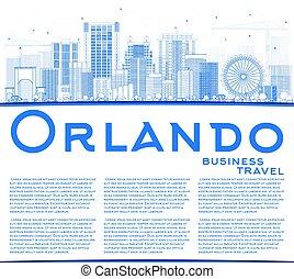 orlando skyline silhouette. outline orlando skyline with blue buildings and copy space silhouette