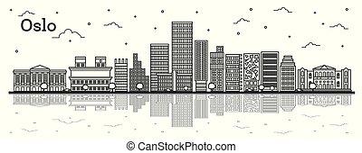 Outline Oslo Norway City Skyline with Modern Buildings and Reflections Isolated on White. Vector Illustration. Oslo Cityscape with Landmarks.