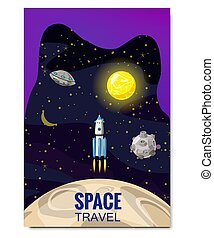 Outline outer space rocket space travel, exploration of the universe, other planets, flying rockets, stars of distant galaxies, template of flyear, magazines, posters, book cover, banners. Vector, banner, illustration, isolated.