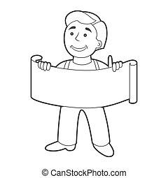 outline., ouvrier, dessin animé, bannière, style., homme