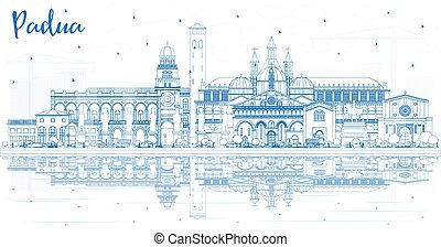 Outline Padua Italy City Skyline with Blue Buildings and Reflections. Vector Illustration. Business Travel and Concept with Historic Architecture. Padua Cityscape with Landmarks.