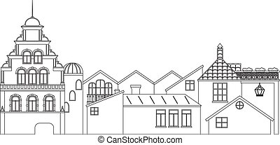 Outline panoramic view of houses. Vector contour of old town cityscape.