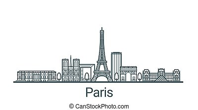 Linear banner of Paris city. All buildings - customizable different objects with background fill, so you can change composition for your project. Line art.