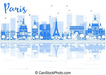Outline Paris skyline with blue buildings and reflections. Vector illustration. Business travel and tourism concept with place for text. Image for presentation, banner, placard and web site.