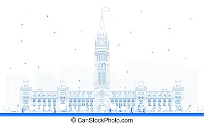 Outline Parliament Building in Ottawa, Canada. Vector illustration. Business Travel and Tourism Concept with Historic Building. Image for Presentation Banner Placard and Web Site.