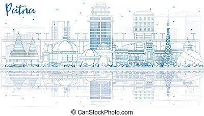 Outline Patna Skyline with Blue Buildings and Reflections.