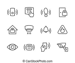 Outline Perimeter security icons - Simple set of perimeter...