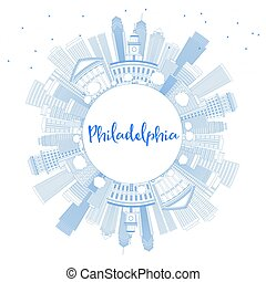 Outline Philadelphia Skyline with Blue Buildings and Copy Space.