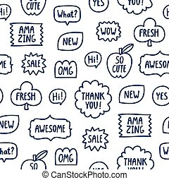 Outline phrases seamless pattern on white background