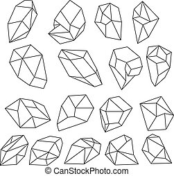 outline., pierres, diamant, naturel, shapes., vecteur, cristaux, ensemble, gemme, 3d