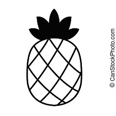 Outline pineapple icon vector illustration isolated