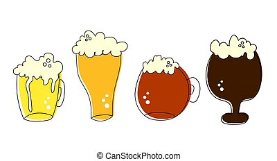 Outline pint tankards set of frothy beer isolated on white background, suitable for pub, Oktoberfest