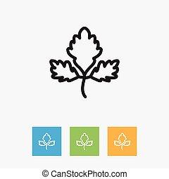 outline., plat, prime, aromate, symbole, persil, illustration, isolé, vecteur, branché, élément, qualité, style., repas