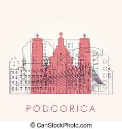 Outline Podgorica skyline with landmarks. Vector illustration.