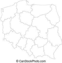 Outline Poland map - Administrative division of the Republic...