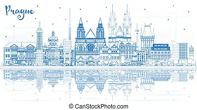 Outline Prague Czech Republic City Skyline with Blue Buildings and Reflections. Vector Illustration. Business Travel and Tourism Concept with Historic Architecture. Prague Cityscape with Landmarks.