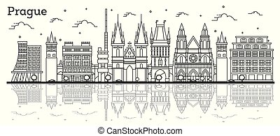 Outline Prague Czech Republic City Skyline with Historic Buildings and Reflections Isolated on White. Vector Illustration. Prague Cityscape with Landmarks.