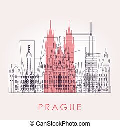 Outline Prague skyline with landmarks. Vector illustration.