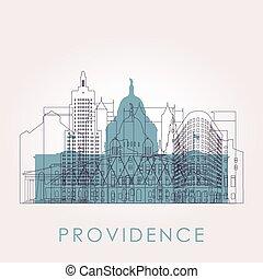 Outline Providence skyline with landmarks.
