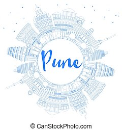 Outline Pune Skyline with Blue Buildings and Copy Space.