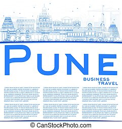 Outline Pune Skyline with Blue Buildings and Copy Space....