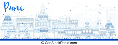 Outline Pune Skyline with Blue Buildings. Vector...