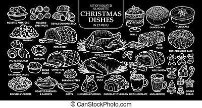 outline., reizend, stil, satz, geschirr, lebensmittel, menu., freigestellt, abbildung, hand, traditionelle , 27, vektor, englisches , gezeichnet, weißes weihnachten