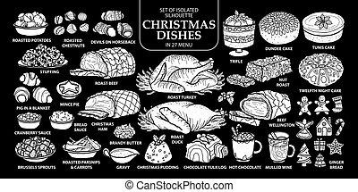 outline., reizend, stil, satz, silhouette, geschirr, essen, eben, menu., freigestellt, abbildung, hand, traditionelle , 27, vektor, englisches , gezeichnet, weißes weihnachten