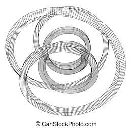outline., rendre, torus, vecteur, 3d