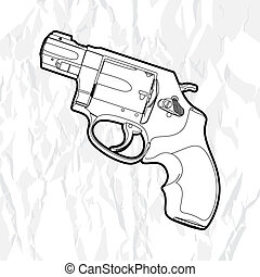 revolver gun - Outline revolver gun on white
