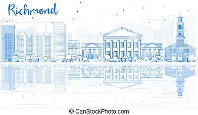 Outline Richmond (Virginia) Skyline with Blue Buildings and ...