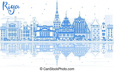 Outline Riga Skyline with Blue Landmarks and Reflections.
