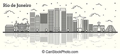 Outline Rio de Janeiro Brazil City Skyline with Modern Buildings and Reflections Isolated on White. Vector Illustration. Rio de Janeiro Cityscape with Landmarks.