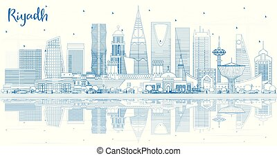 Outline Riyadh Saudi Arabia City Skyline with Blue Buildings and Reflections. Vector Illustration. Business Travel and Concept with Modern Architecture. Riyadh Cityscape with Landmarks.