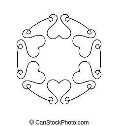 Outline romantic frame for wedding invitation