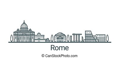 Linear banner of Rome city. All buildings - customizable different objects with background fill, so you can change composition for your project. Line art.