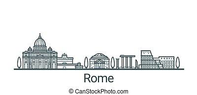 Outline Rome banner - Linear banner of Rome city. All...