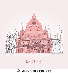 Outline Rome skyline