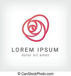 outline rose curve logo design template