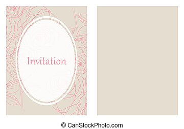Outline roses wedding invitation