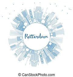 Outline Rotterdam Netherlands City Skyline with Blue Buildings and Copy Space.
