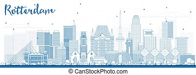 Outline Rotterdam Netherlands Skyline with Blue Buildings.