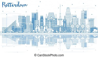 Outline Rotterdam Skyline City with Blue Buildings and Reflections.