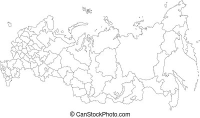 Outline Russia map - Administrative division of the Russian...