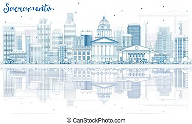 Outline Sacramento Skyline with Blue Buildings and Reflections.