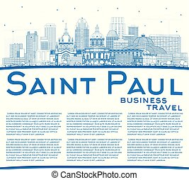Outline Saint Paul Minnesota City Skyline with Blue Buildings and Copy Space.