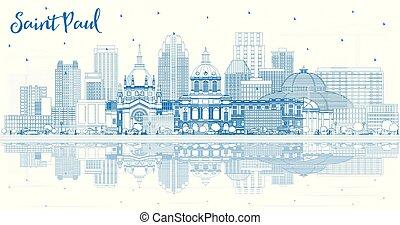Outline Saint Paul Minnesota City Skyline with Blue Buildings and Reflections.