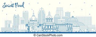 Outline Saint Paul Minnesota City Skyline with Blue Buildings.