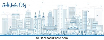 Outline Salt Lake City Skyline with Blue Buildings. Vector...